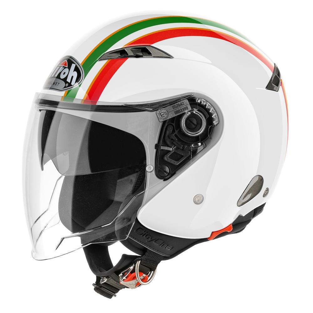 Moto prilba Airoh City One Style biela/zelená/červená - S (55-56)