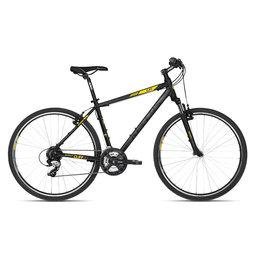 "Pánsky crossový bicykel KELLYS CLIFF 30 28"" - model 2018 Black Yellow - 21"" - Záruka 10 rokov"