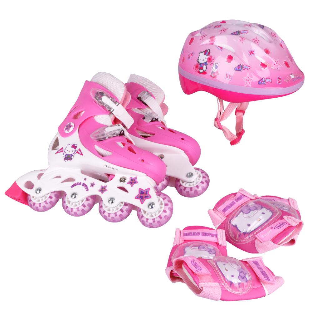 Detská sada Hello Kitty - kolieskové korčule, chrániče a prilba OHKY26
