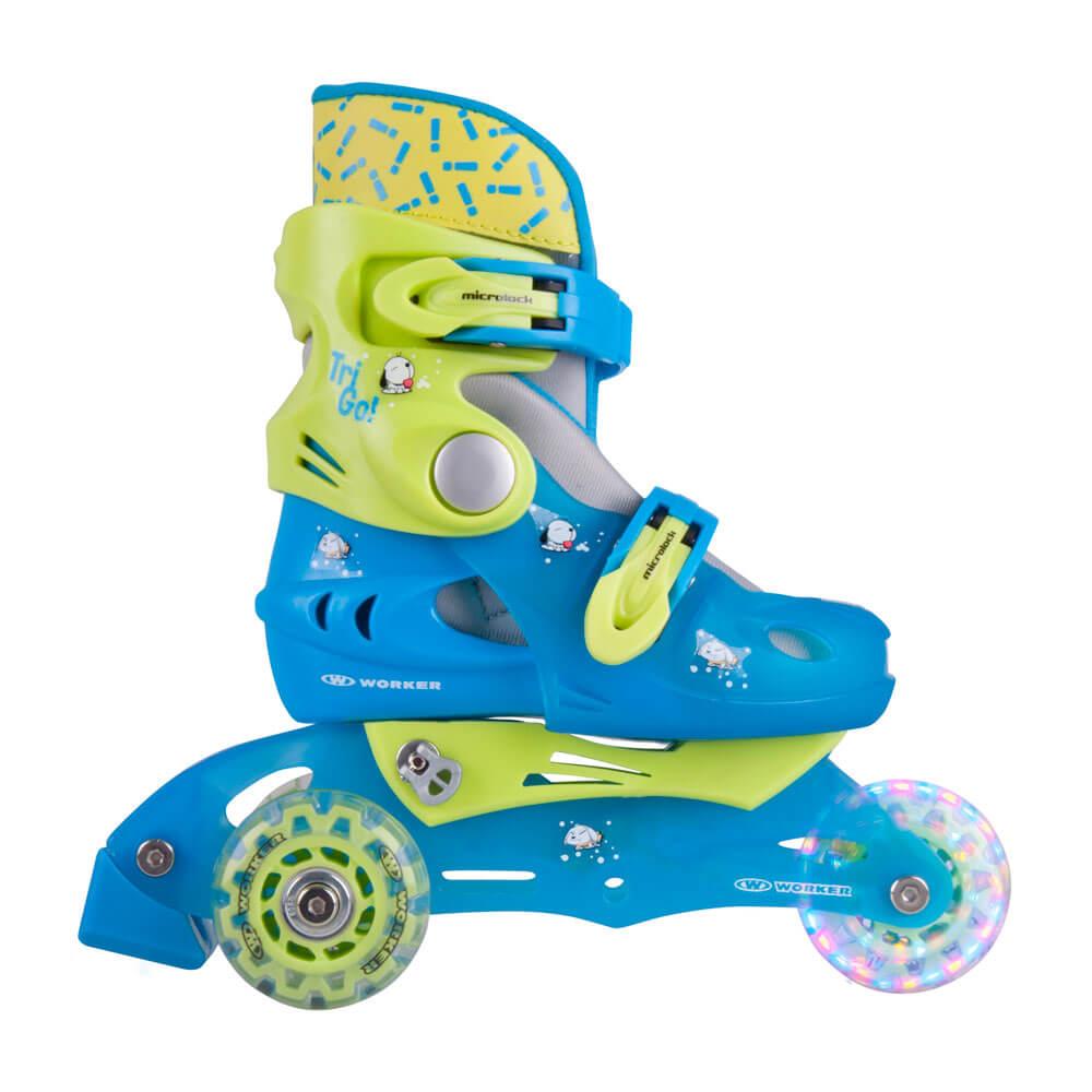 Detské kolieskové korčule WORKER TriGo Skate LED - so sv. kolieskami modrá - XS (26-29)
