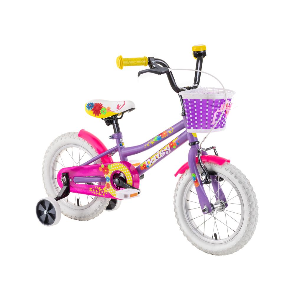 "Detský bicykel DHS Daisy 1602 16"" - model 2019 Purple - Záruka 10 rokov"