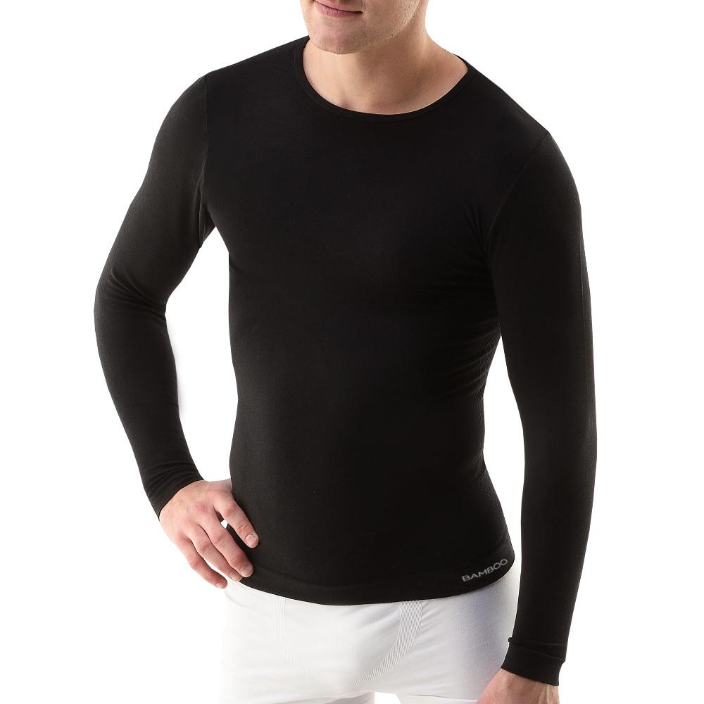 Pánske triicko s dlhým rukávom EcoBamboo čierna - S/M