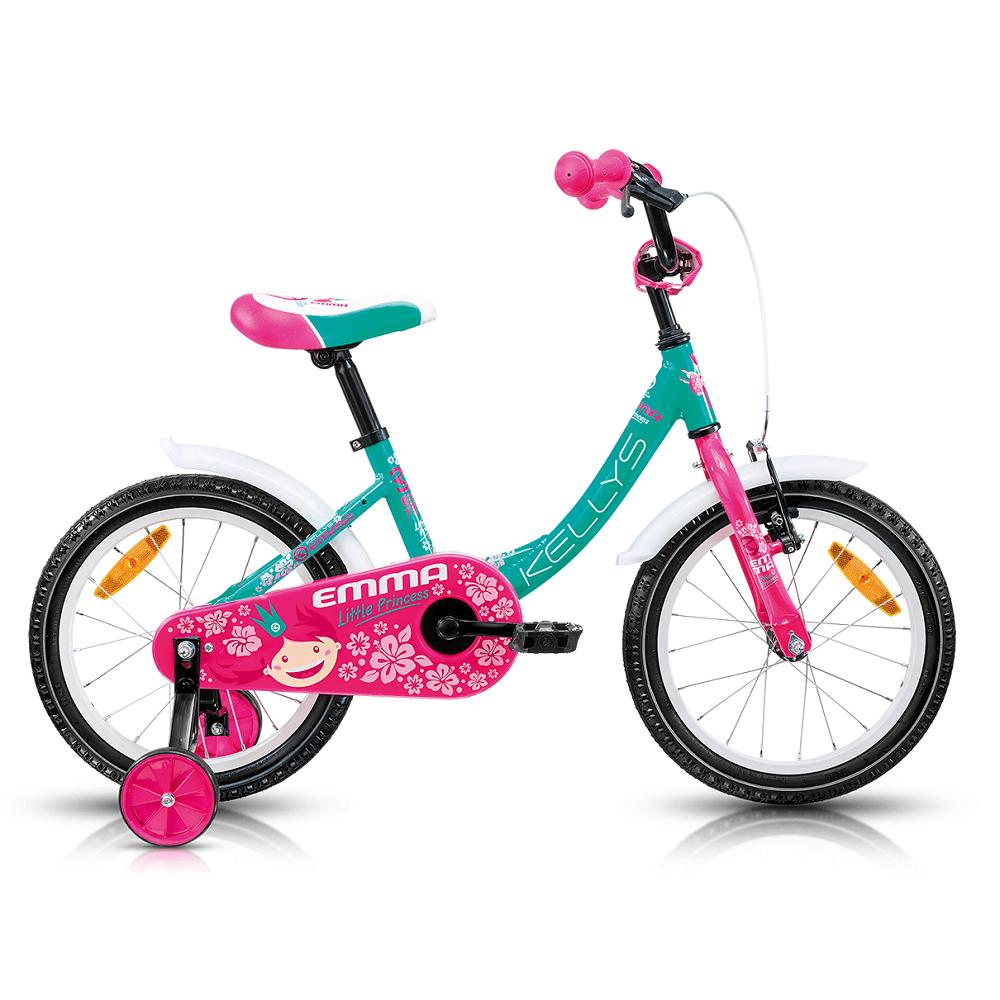 """Detský bicykel KELLYS EMMA 16"""" - model 2017 Azure - 240 mm (9,5"""") - Záruka 5 rokov"""