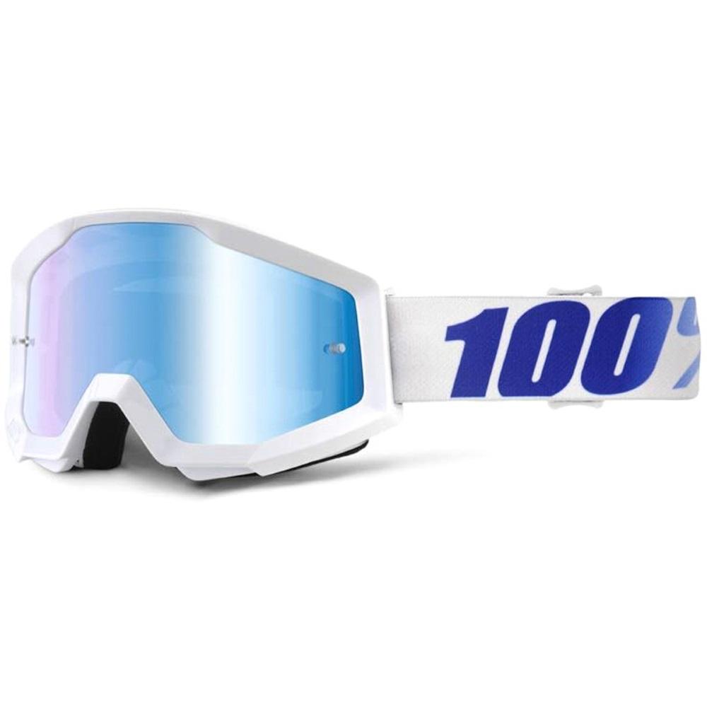 Motokrosové okuliare 100% Strata Chrome Equinox biela, modré chróm plexi s čapmi pre trhačky