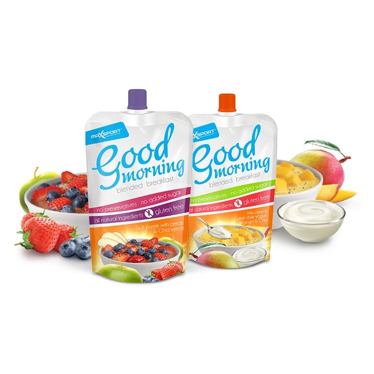 Raňajkové ovocné pyré MAX SPORT Good Morning 200g čerstvé ovocie s cereáliami + chia semienka