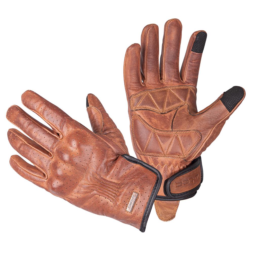 Kožené moto rukavice W-TEC Dahmer tmavo hnedá - S