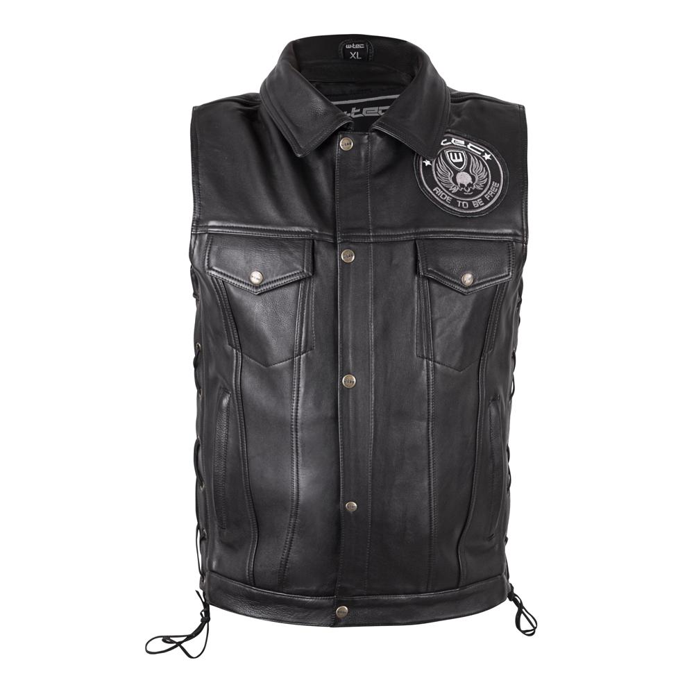 Kožená moto vesta W-TEC Highstake Black - XL