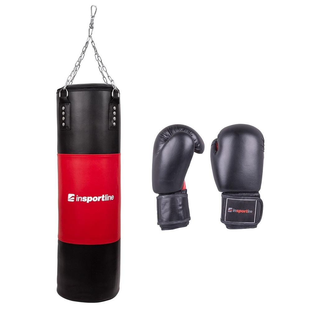 Plniace boxovacie vrece inSPORTline 50-100kg s boxerskými rukavicami čierno-červená - 8oz