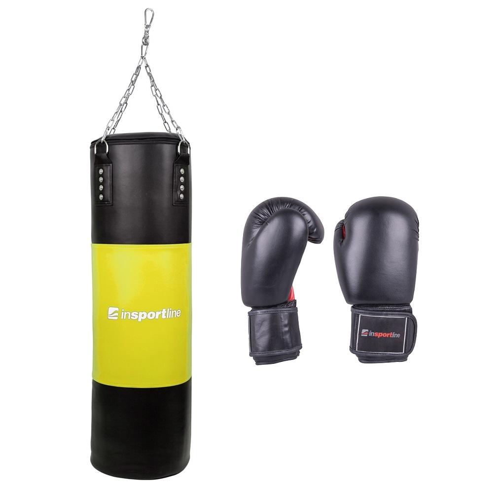 Plniace boxovacie vrece inSPORTline 50-100kg s boxerskými rukavicami čierno-žltá - 14oz