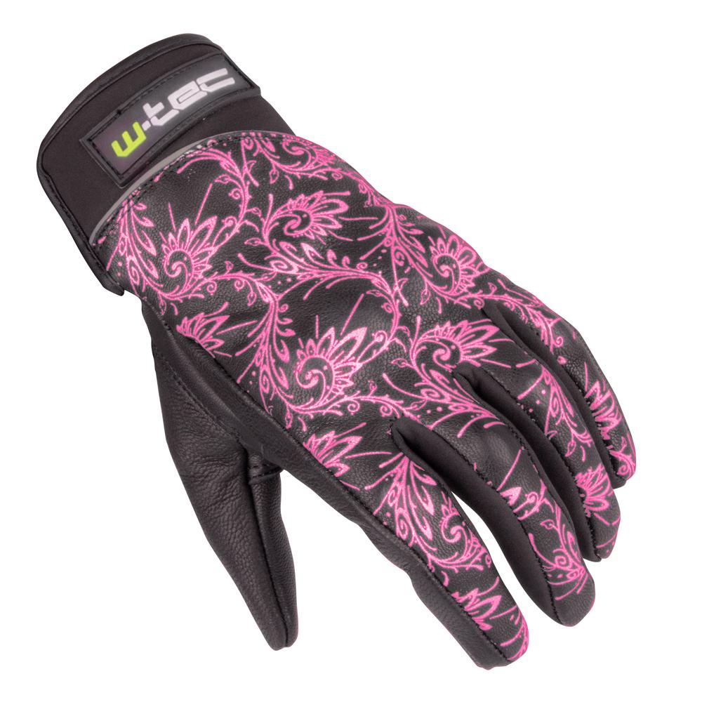 Dámske kožené moto rukavice W-TEC Malvenda NF-4208 - čierna s ružovou  grafikou 187f26ef74