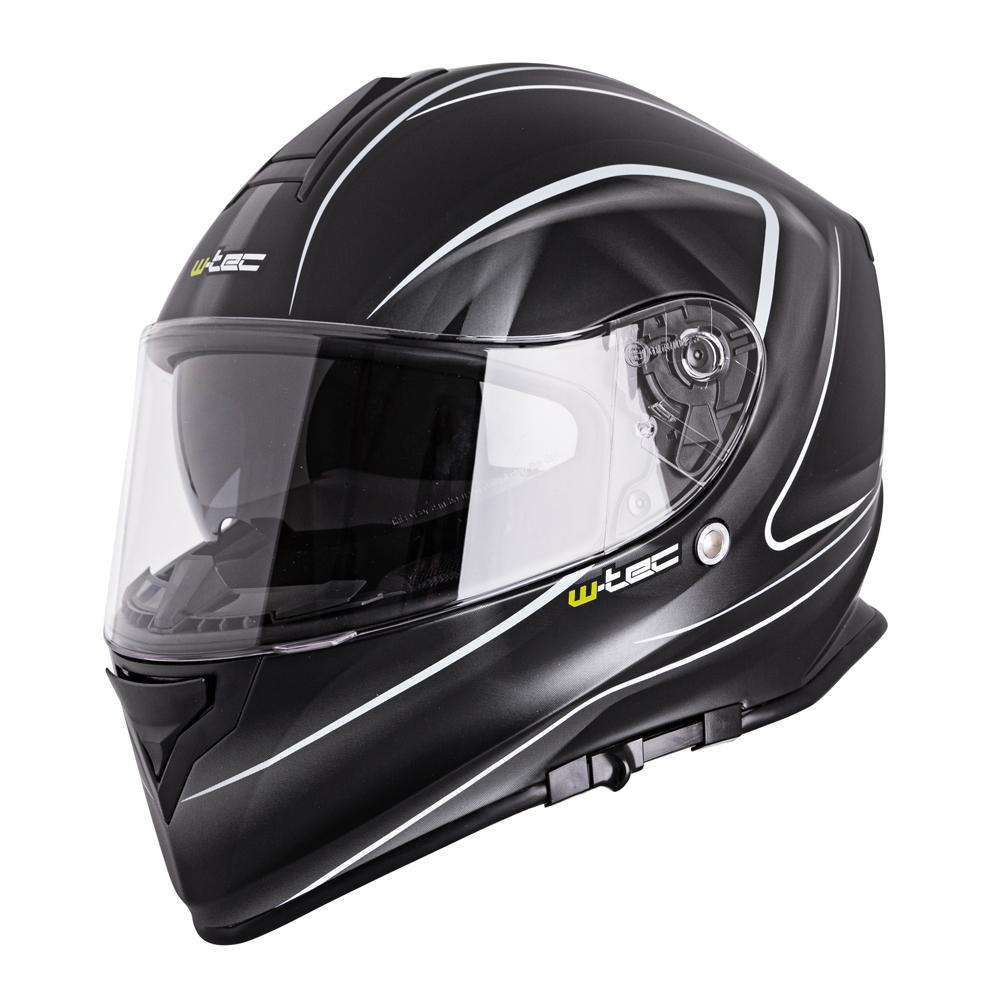 Moto prilba W-TEC V127 čierna s grafikou - XS (53-54)
