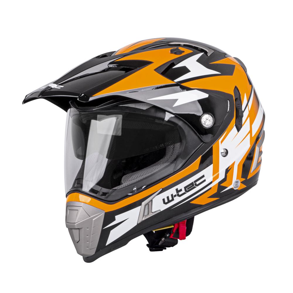 Moto prilba W-TEC Dualsport Black-Fluo Orange - XS (53-54)