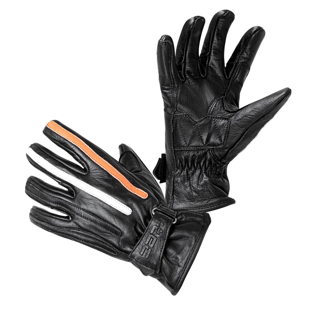 Moto rukavice W-TEC Classic čierna s oranžovým a béžovým pruhom - S