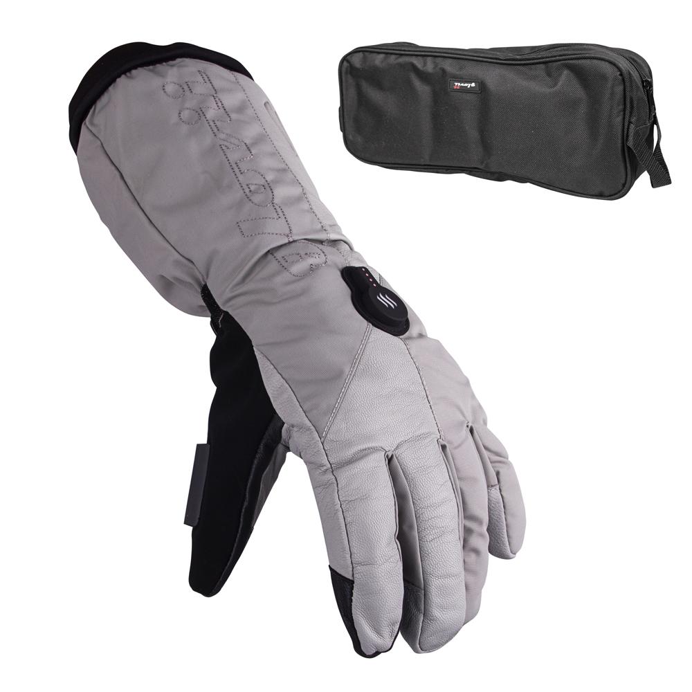 Vyhrievané lyžiarske a moto rukavice Glovii GS8 šedá - M