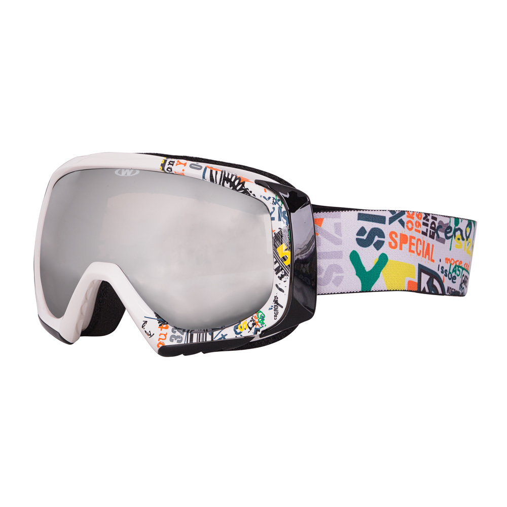 e2cdb6fd2 Lyžiarske okuliare WORKER Hiro s grafikou biely grafit