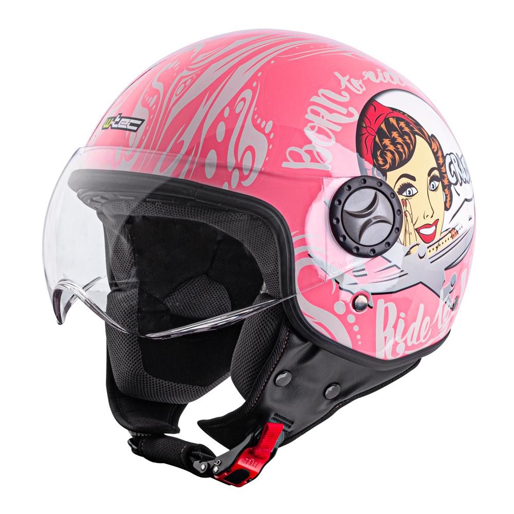 Prilba na skúter W-TEC FS-701PG Pink Life