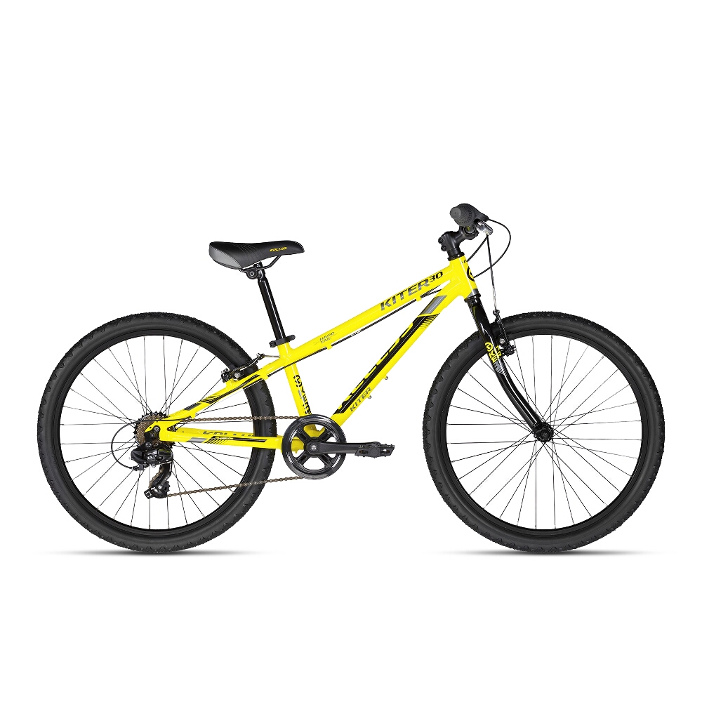 "Juniorský bicykel KELLYS KITER 30 24"" - model 2018 Yellow Neon - Záruka 10 rokov"