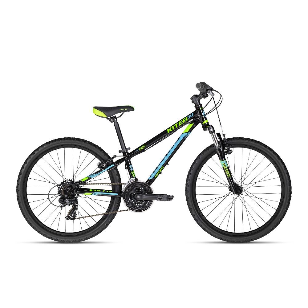"Juniorský bicykel KELLYS KITER 50 24"" - model 2018 Black - Záruka 10 rokov"