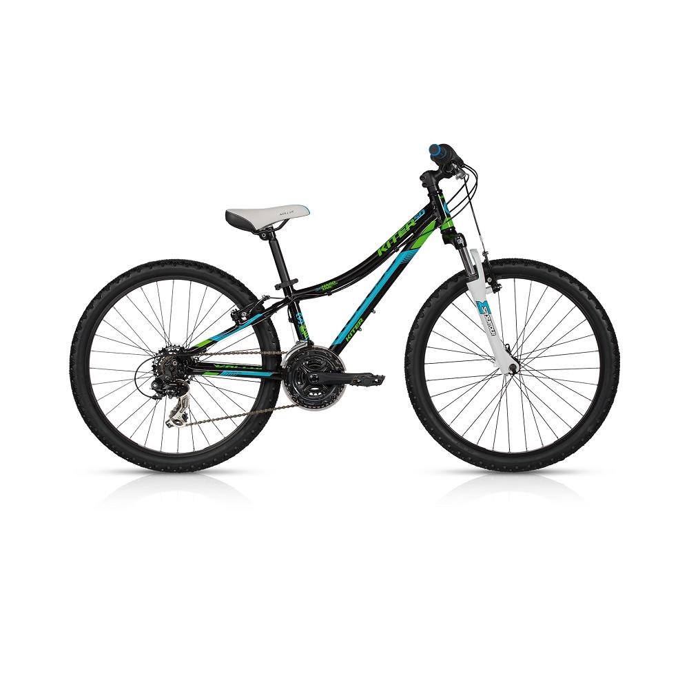 "Juniorský bicykel KELLYS KITER 50 24"" - model 2017 Black - 280 mm (11"") - Záruka 5 rokov"
