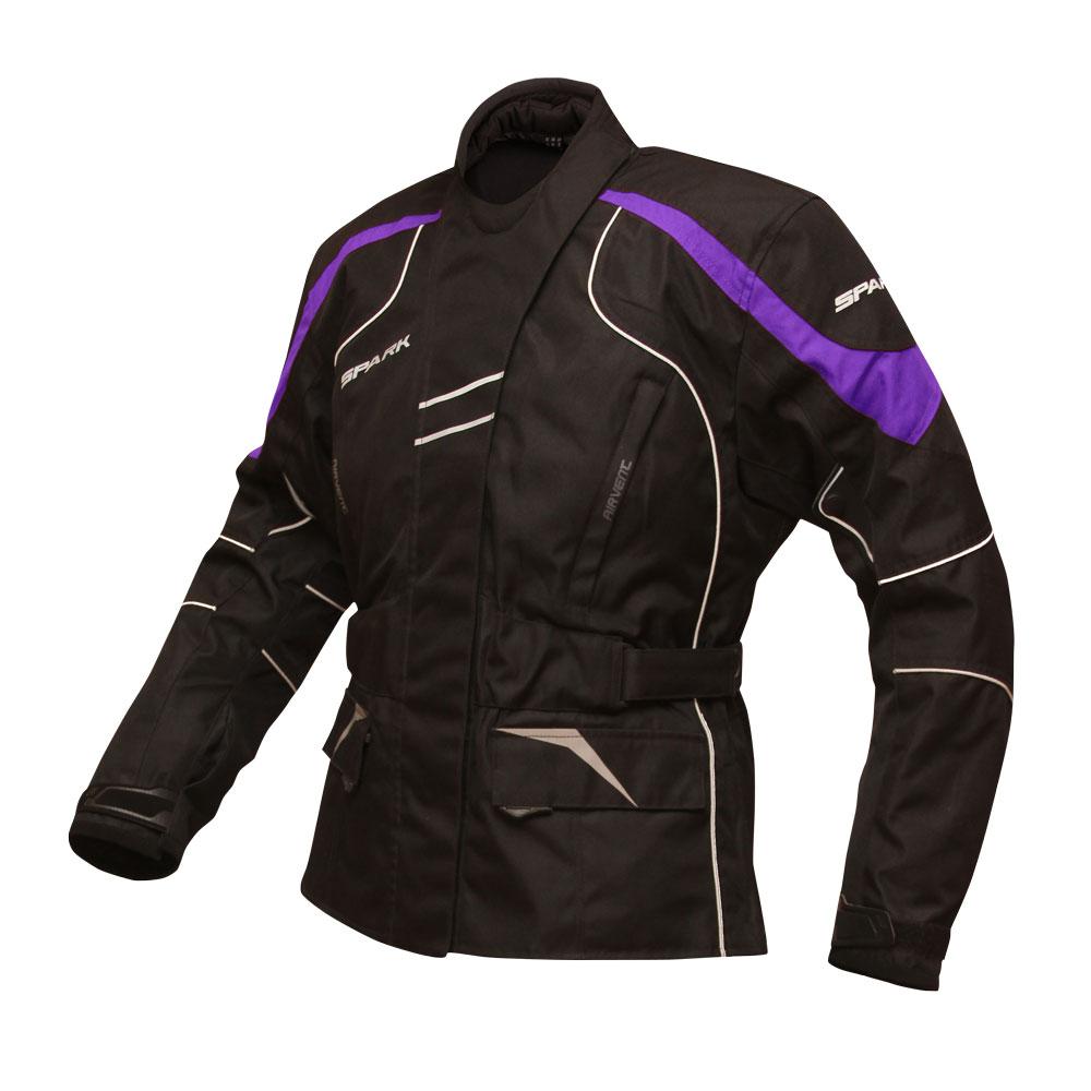 Dámska moto bunda Spark Lady Berry čierno-fialová - S