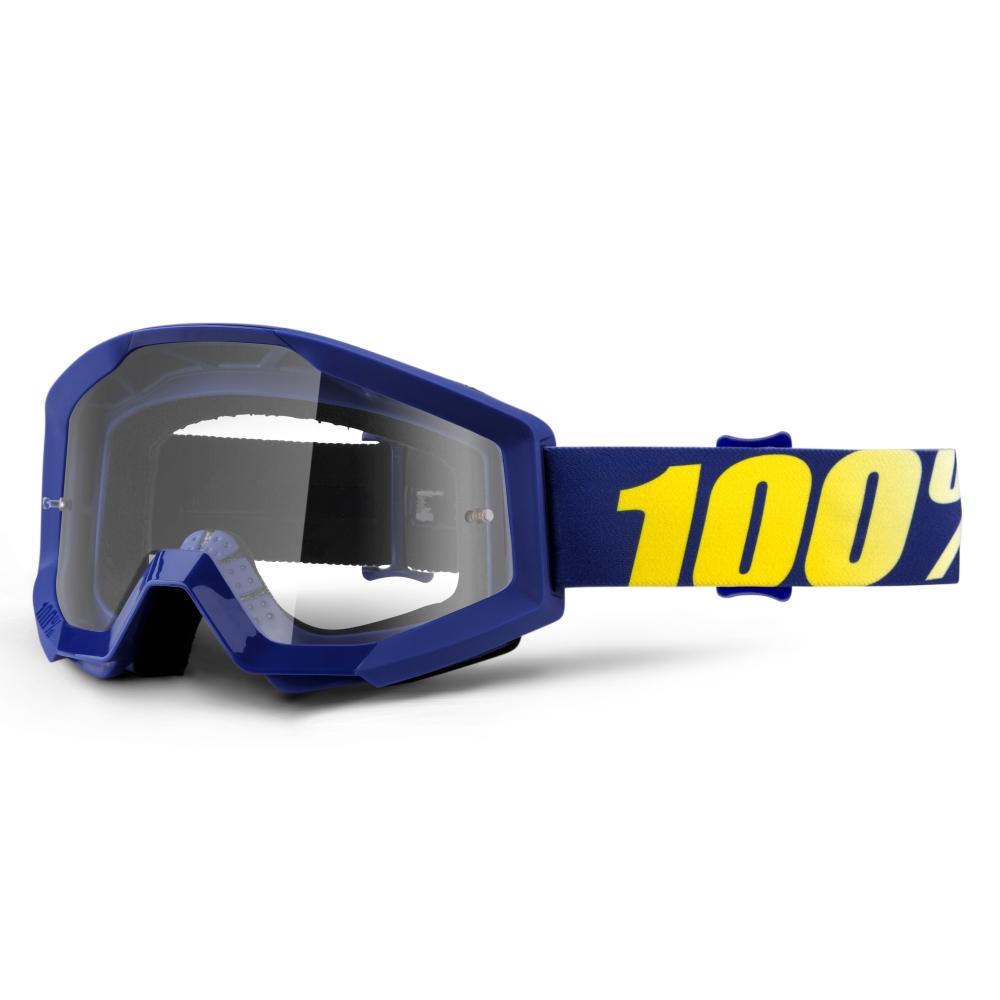Motokrosové okuliare 100% Strata Hope modrá, číre plexi s čapmi pre trhačky
