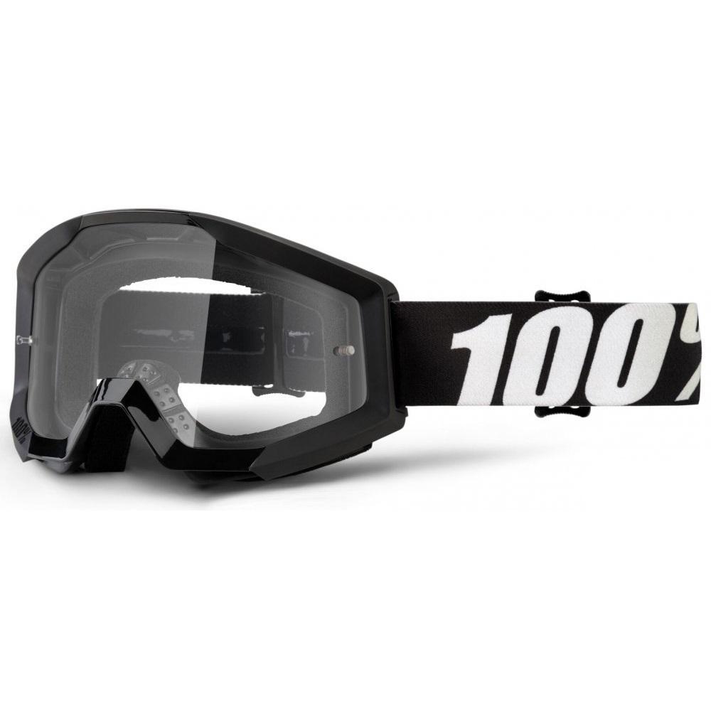 Motokrosové okuliare 100% Strata Outlaw čierna, číre plexi s čapmi pre trhačky