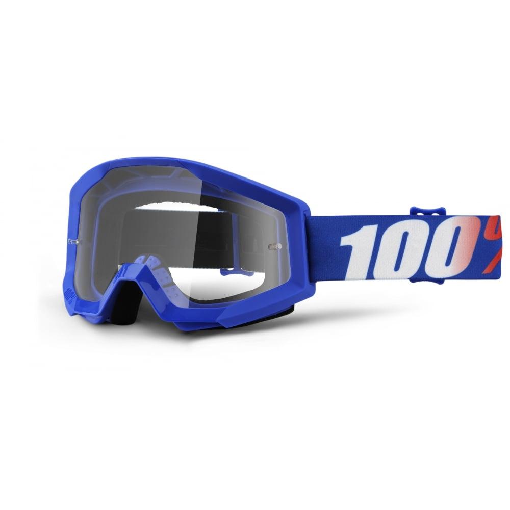 Motokrosové okuliare 100% Strata Nation modrá, číre plexi s čapmi pre trhačky