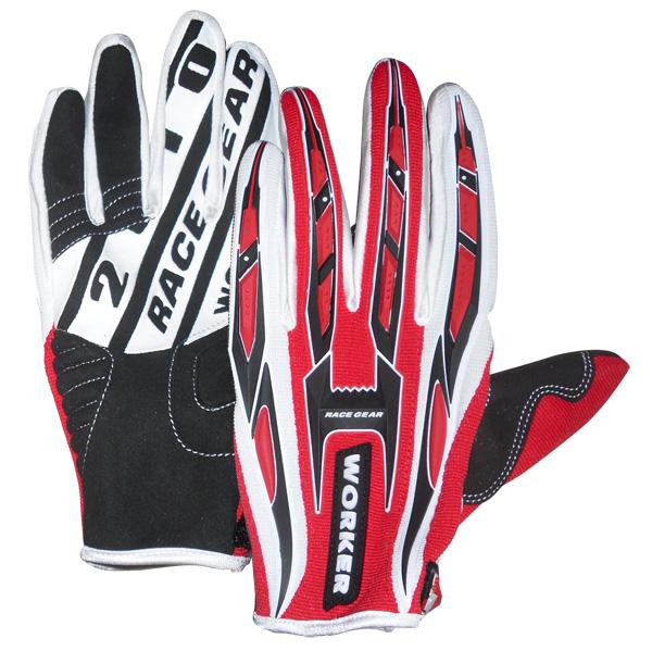 Motokrosové rukavice WORKER MT790 červená - XL