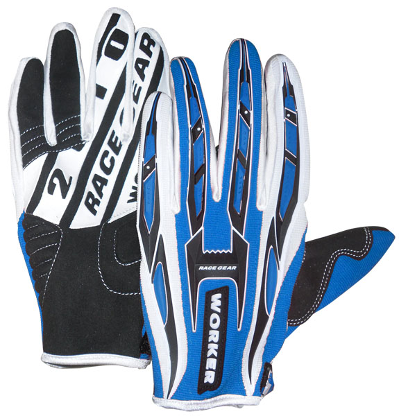 Motokrosové rukavice WORKER MT790 modrá - XL