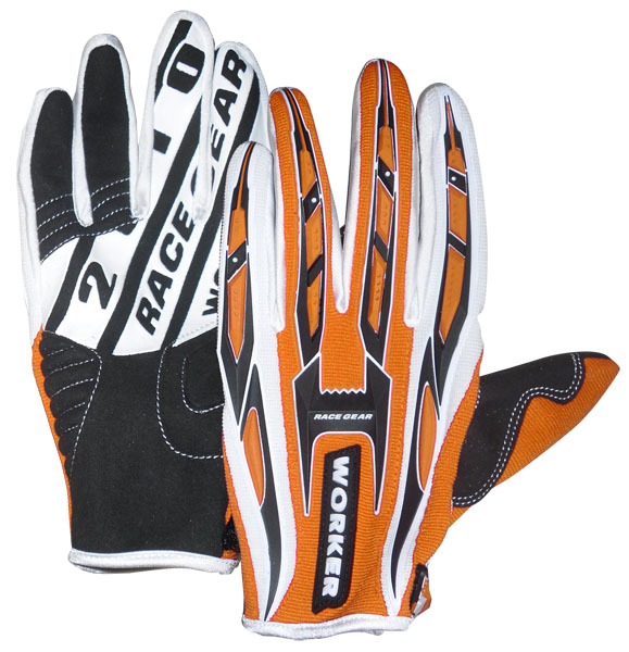 Motokrosové rukavice WORKER MT790 oranžová - XL