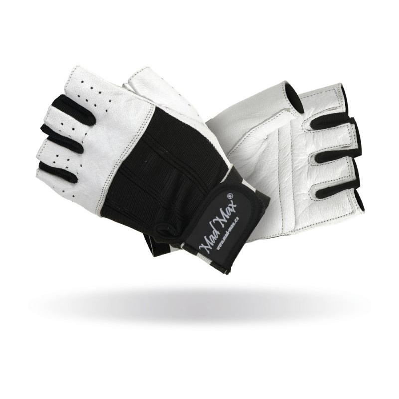 Fitness rukavice Mad Max Clasic bielo-čierna - L