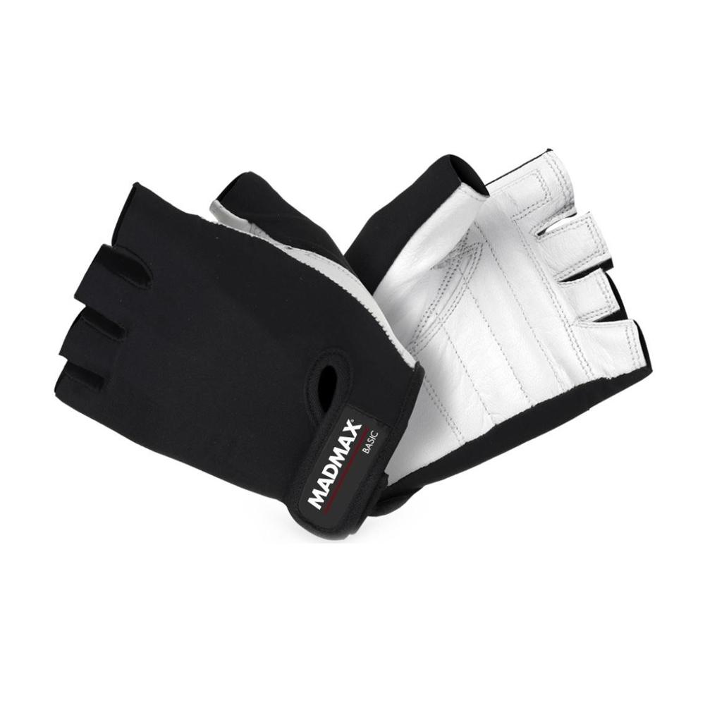 Fitness rukavice MadMax Basic bielo-čierna - L