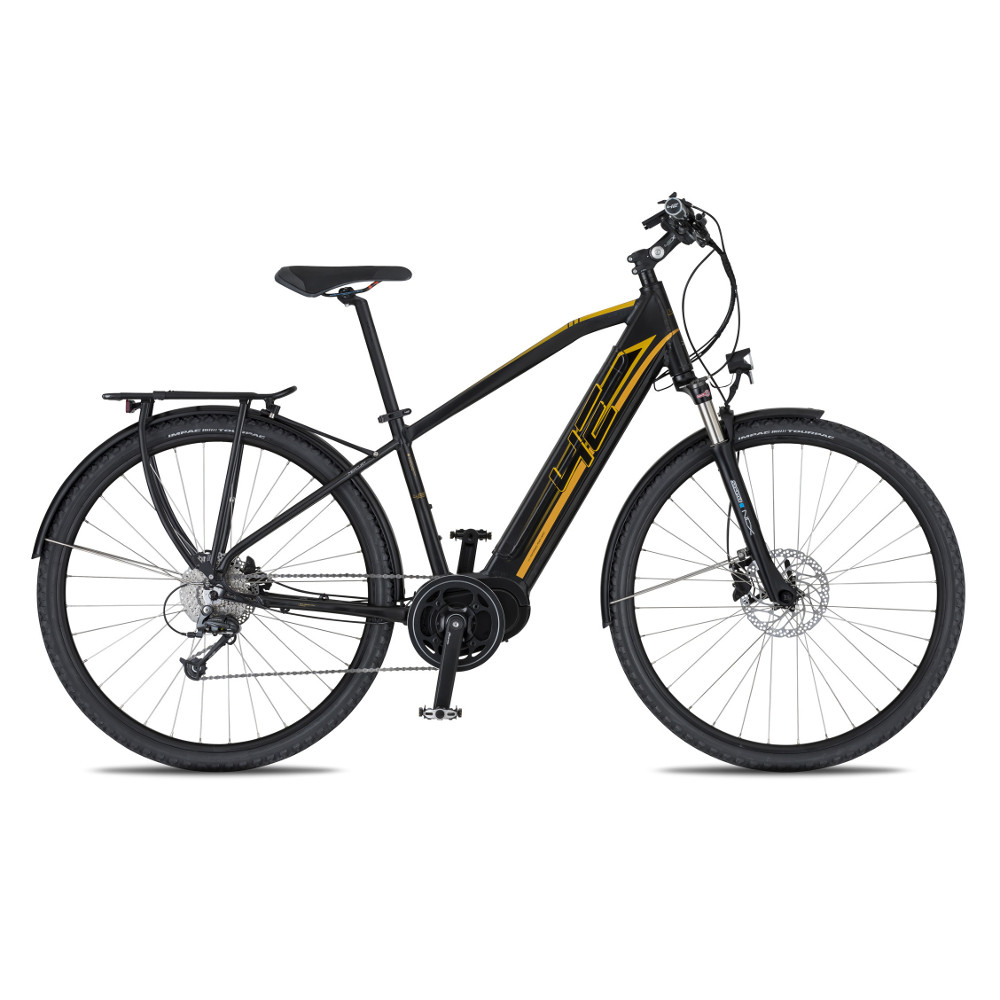 "Trekingový elektrobicykel 4EVER Mercury AC-Trek - model 2020 čierna/zlatá - 21"" - Záruka 10 rokov"