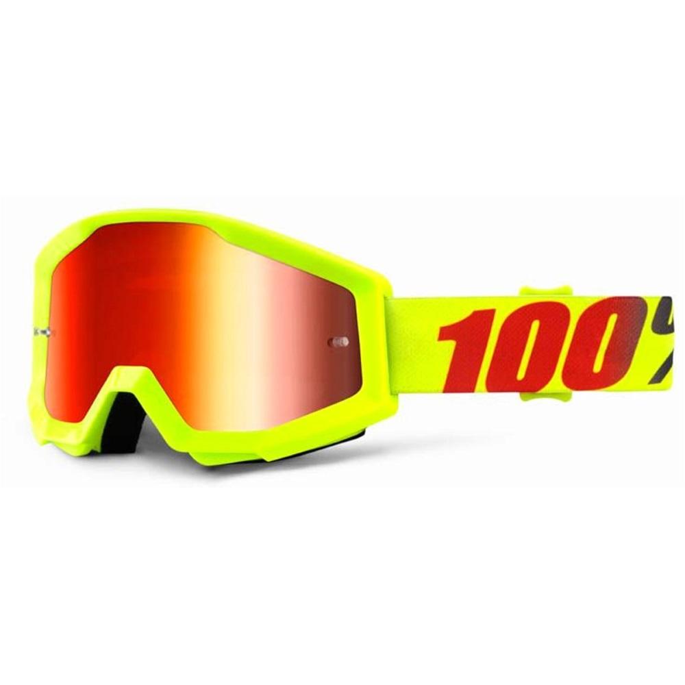 Motokrosové okuliare 100% Strata Chrome Mercury fluo žltá, červené chróm plexi s čapmi pre trhačky