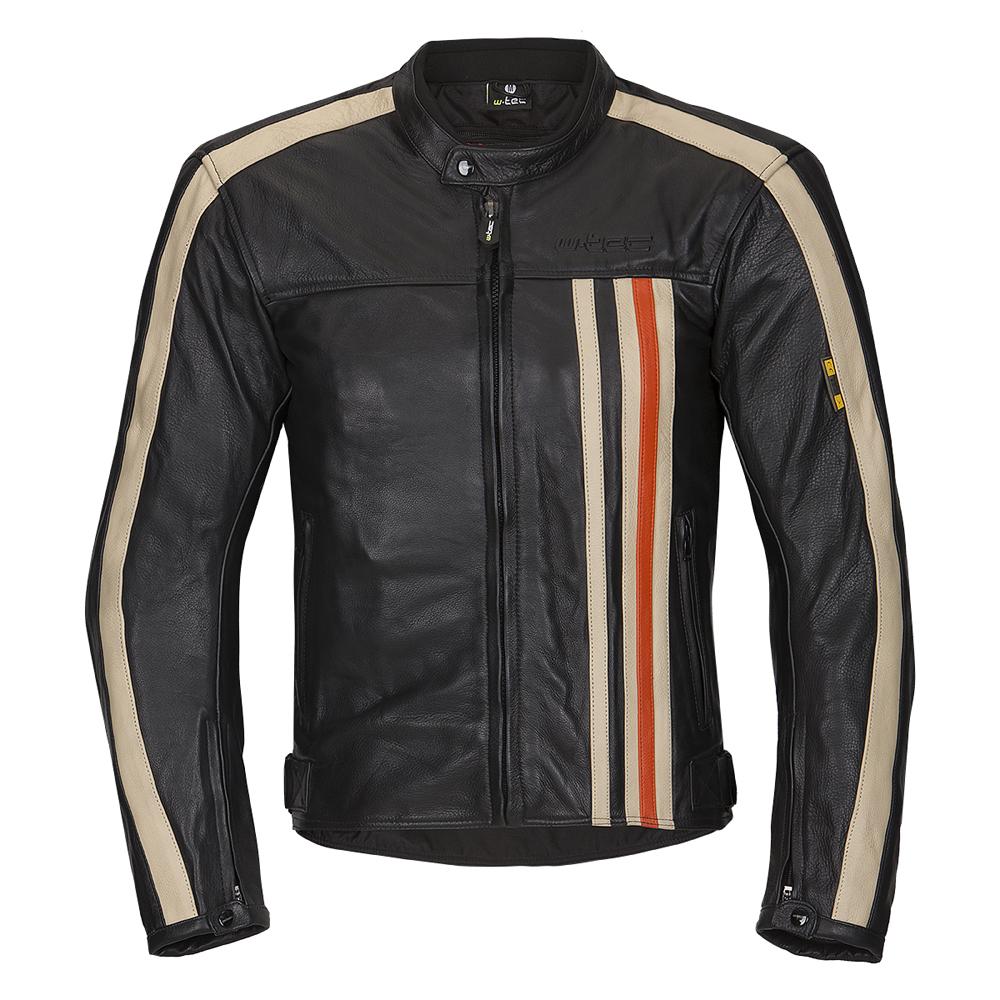 Pánska kožená moto bunda W-TEC Engelsberg NF-1114 čierno-béžovo-oranžová - XXL