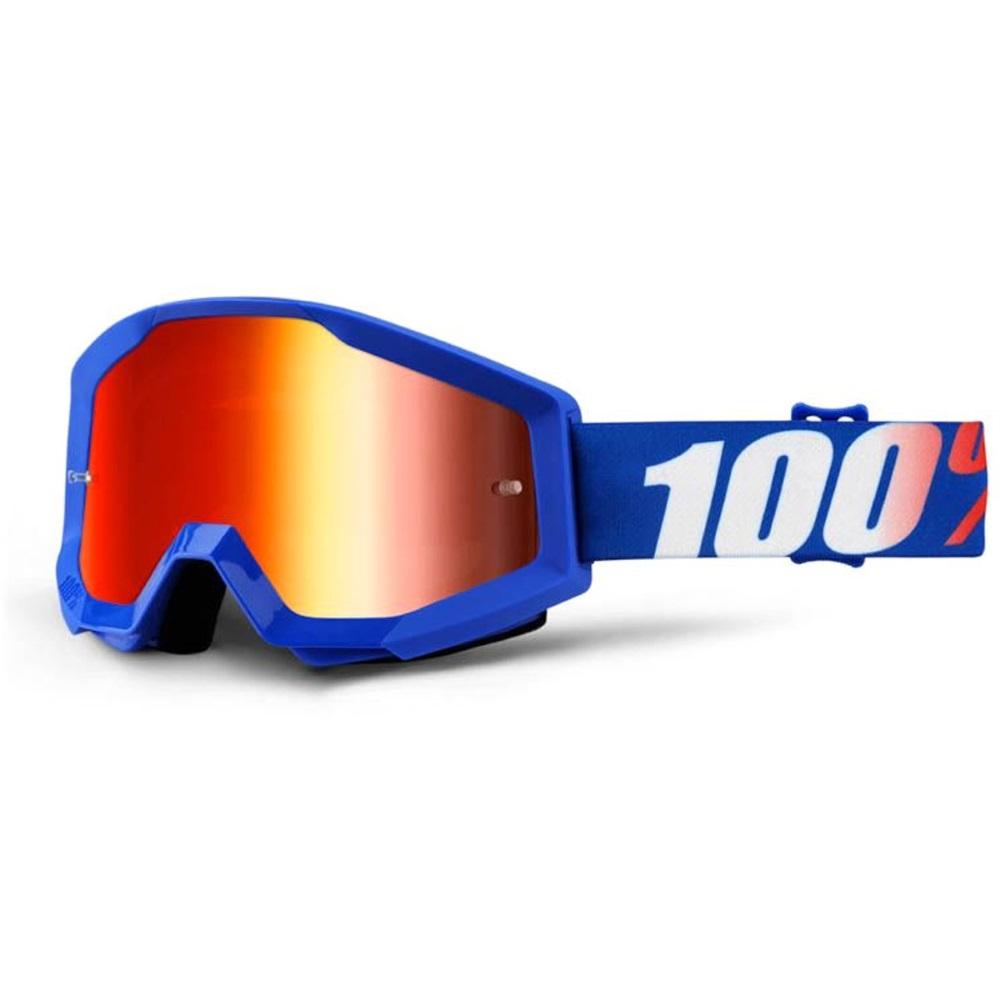 Motokrosové okuliare 100% Strata Chrome Nation modrá, červené chróm plexi s čapmi pre trhačky