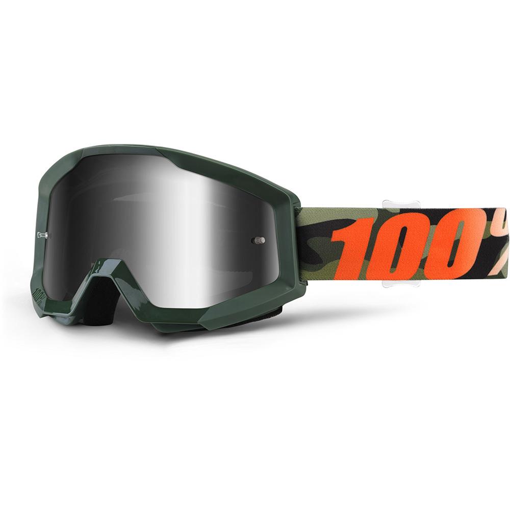 Motokrosové okuliare 100% Strata Chrome Huntitistan tmavo zelená, strieborné chrom plexi s čapmi pre trh
