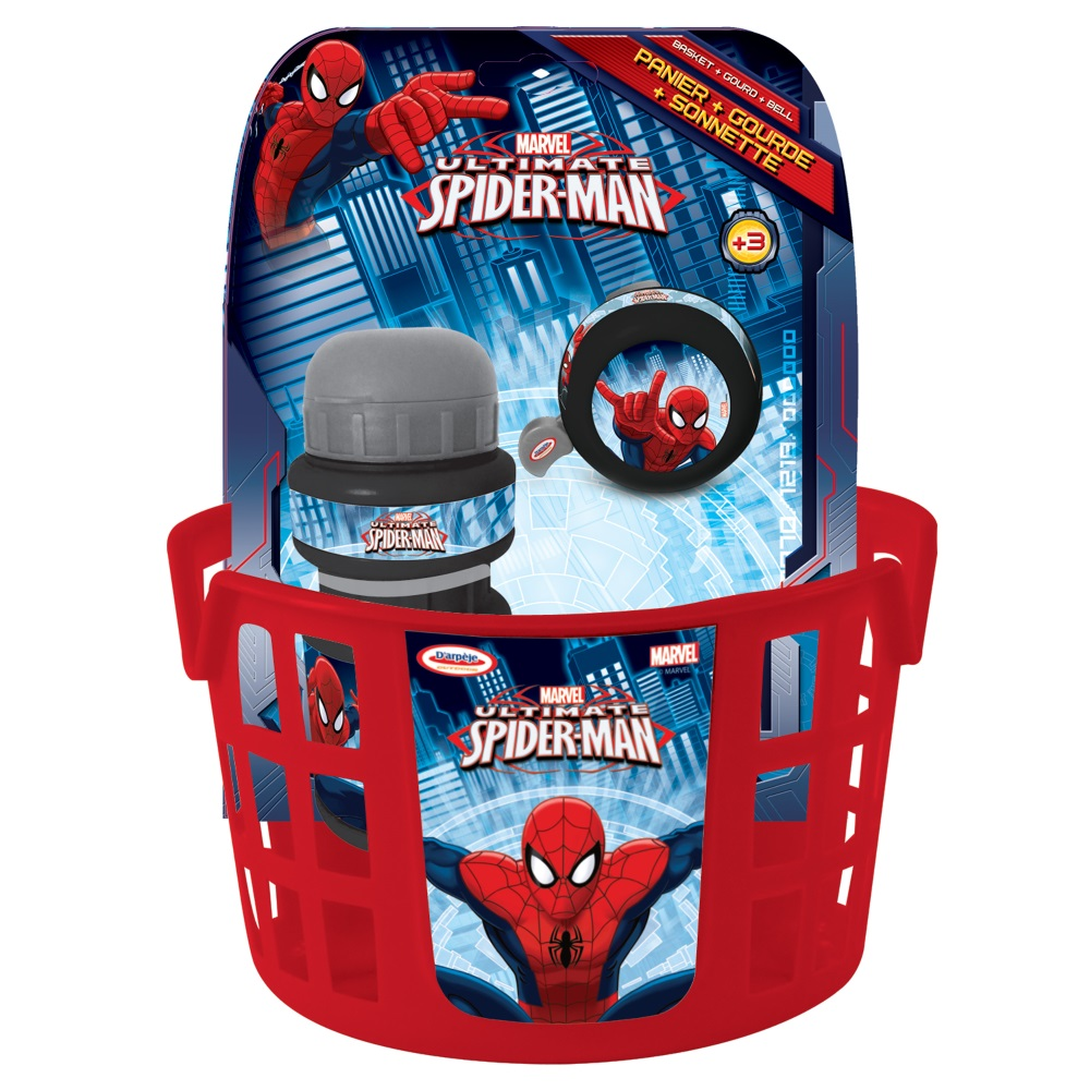 Cyklistická sada Spiderman (košík, zvonček, fľaša)