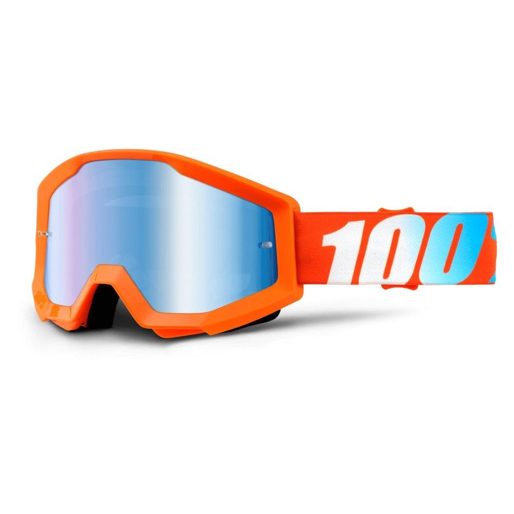 Motokrosové okuliare 100% Strata Chrome Orange oranžová, modré chróm plexi s čapmi pre trhačky