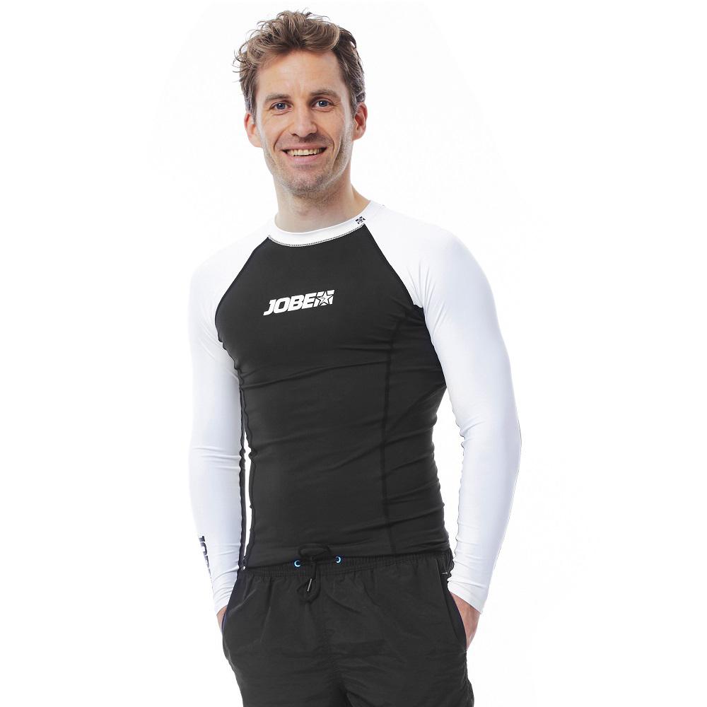 Pánske tričko pre vodné športy Jobe Rashguard s dlhým rukávom čierno-biela - M