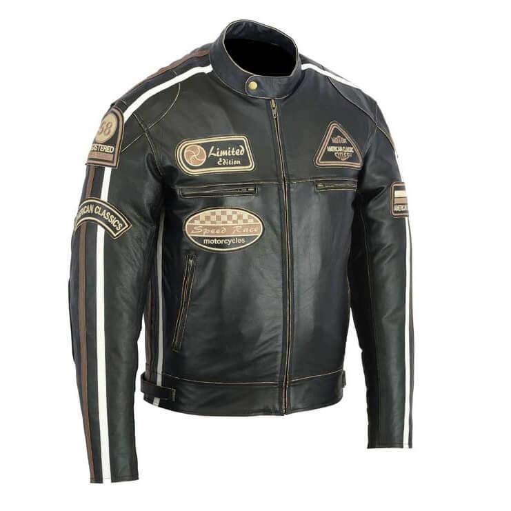 Kožená moto bunda BOS 2058 Antique black čierna - 2XL
