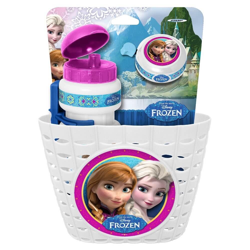 Cyklistická sada Frozen (košík, fľaša, zvonček) - biela