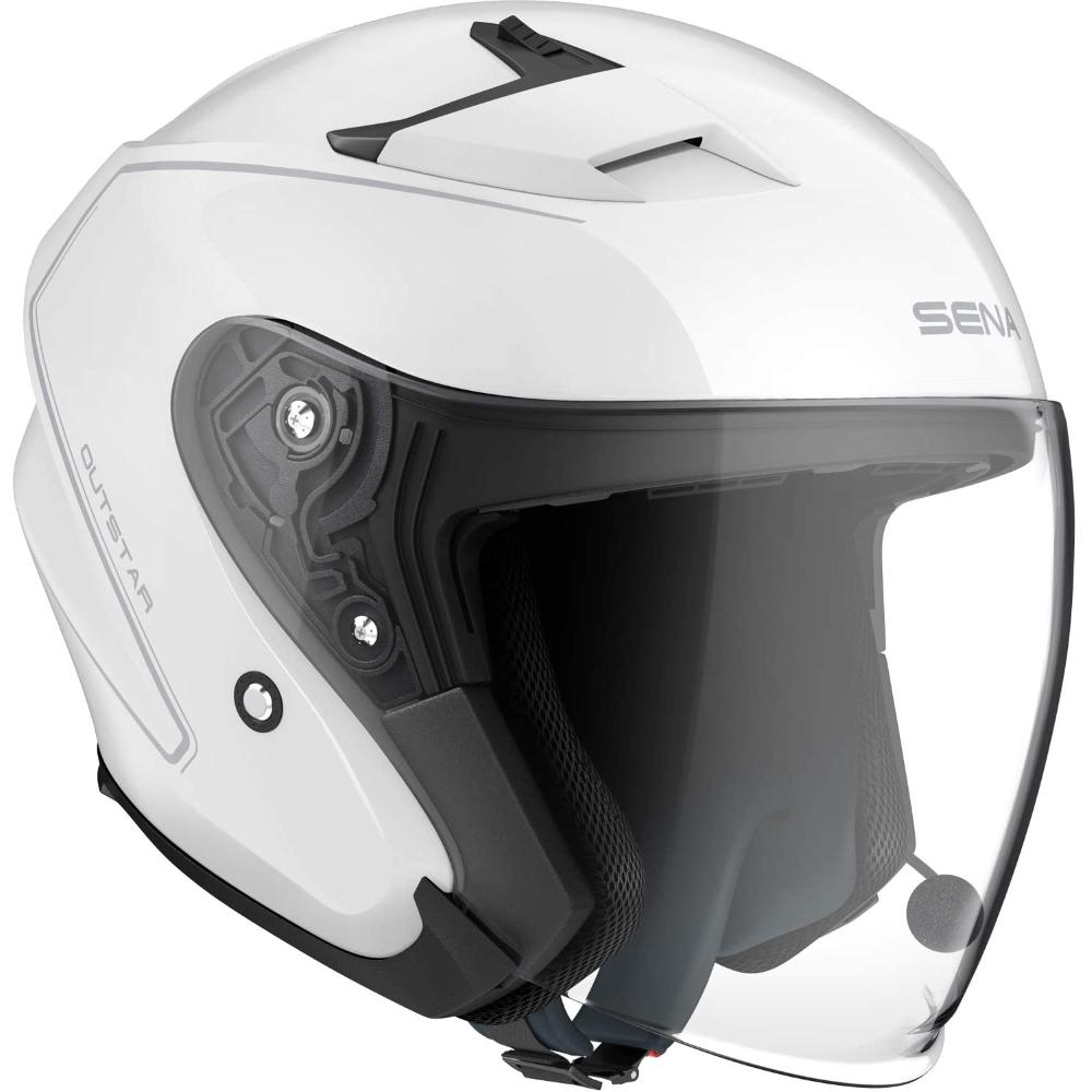 Moto prilba SENA Outstar s integrovaným headsetom biela lesk - S (55-56)
