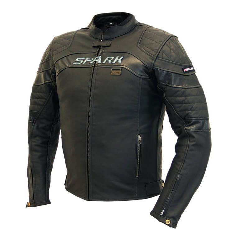 Pánska kožená moto bunda SPARK Dark čierna - M