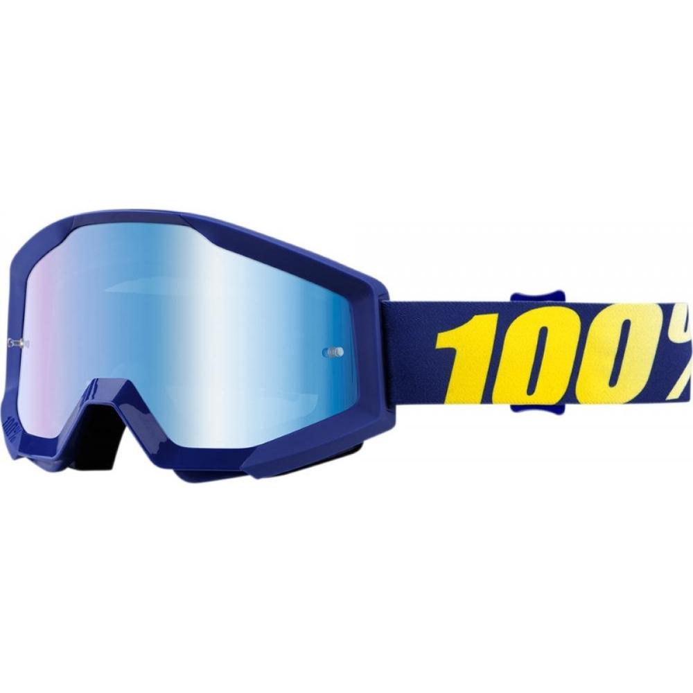 Motokrosové okuliare 100% Strata Chrome Hope modrá, modré chrom plexi s čapmi pre trhačky