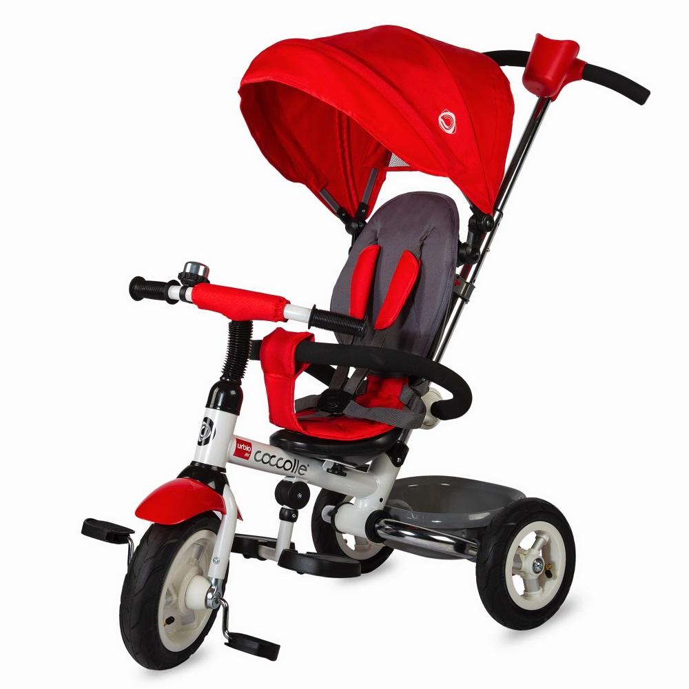 Detská trojkolka s vodiacou tyčou Coccolle Urbio Air červená