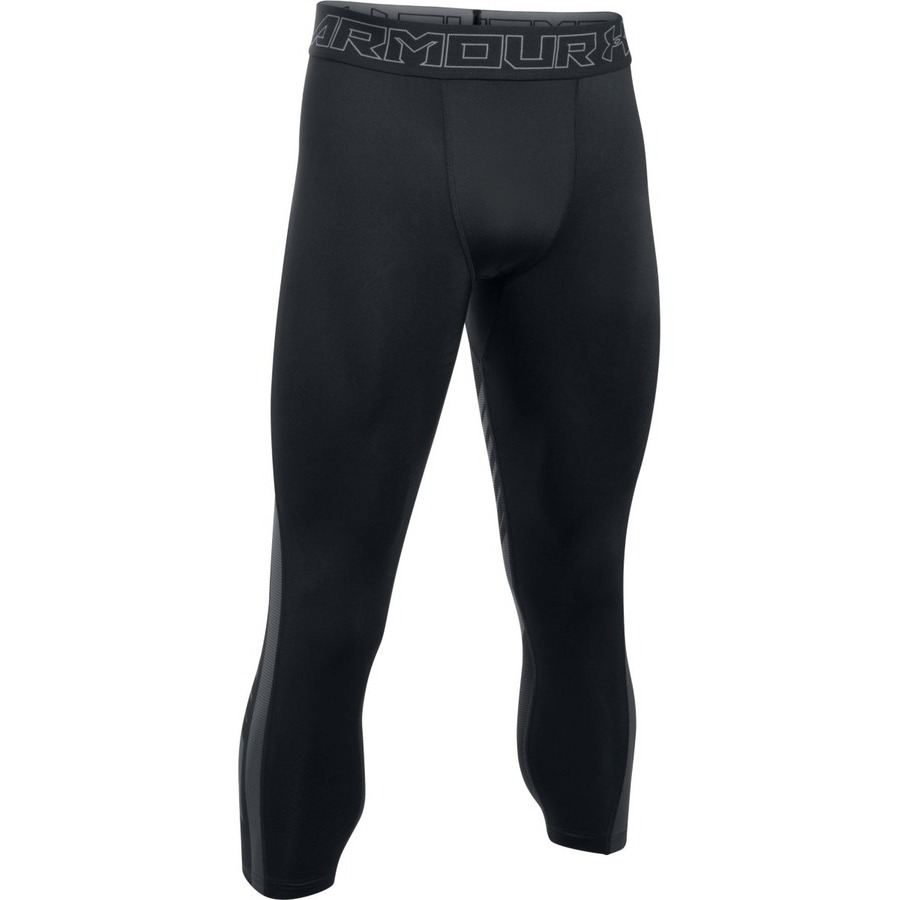 Pánske kompresné legíny Under Armour HG SuperVent 2.0 3/4 Legging BLACK / STEALTH GRAY / GRAPHITE - XL