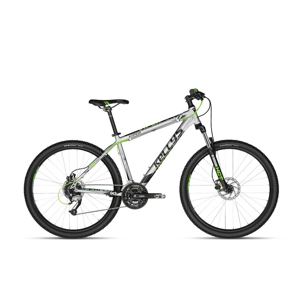 "Horský bicykel KELLYS VIPER 50 27,5"" - model 2018 Silver-Green Neon - 15,5"" - Záruka 10 rokov"