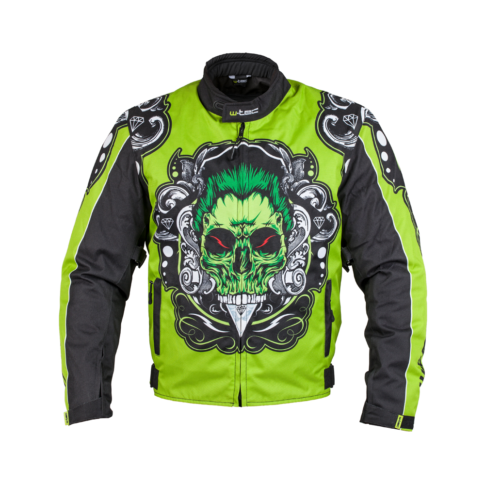 Moto bunda W-TEC Daemon zelená s potlačou - M