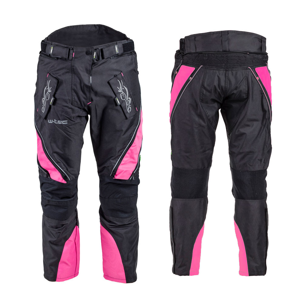 Dámske moto nohavice W-TEC Kaajla NF-2683 čierno-ružová - S